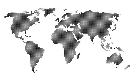 world  hexagon: Black dotted world map isolated on white background