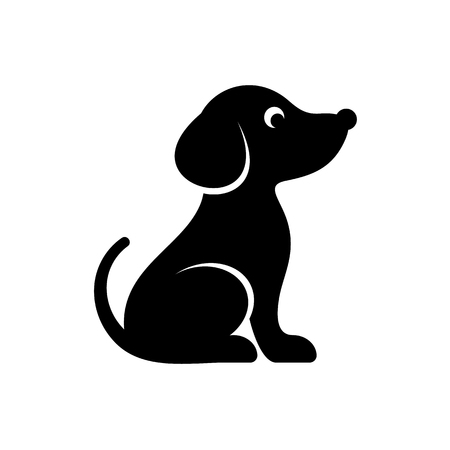 Cute black vector dog icon isolated on white  イラスト・ベクター素材