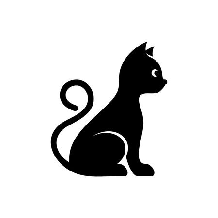 adorable: Cute black vector cat icon isolated on white Illustration