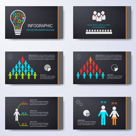 slides: Vector template for presentation slides with infographic icons