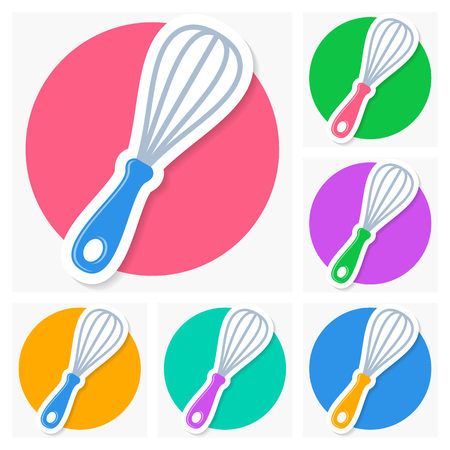 single whip: Colorful vector whisk icons with shadow collection Illustration