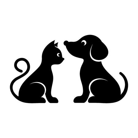 Zwarte vector kat en hond hoge kwaliteit pictogrammen Stock Illustratie