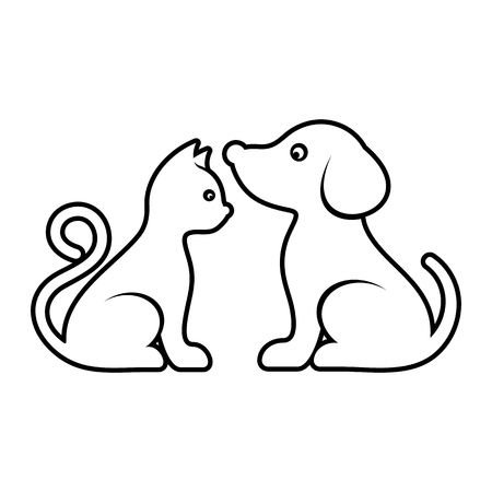 Vector cat and dog high quality outline illustration Stock Illustratie