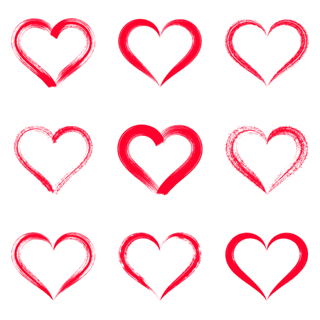 strokes: Red vector brush strokes hearts outlines valentine illustrations