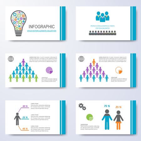Vector template for presentation slides with demographic icons