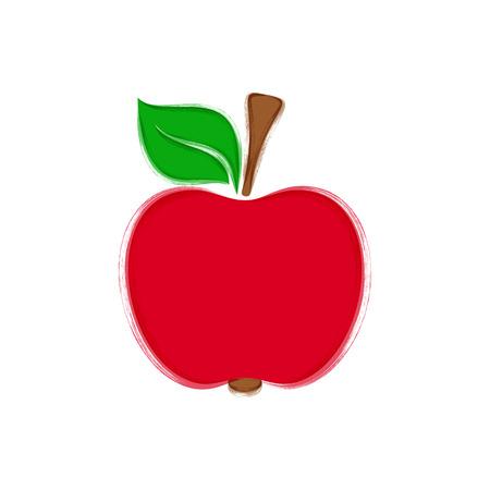 Red apple with leaf vector brush strokes illustration Illustration