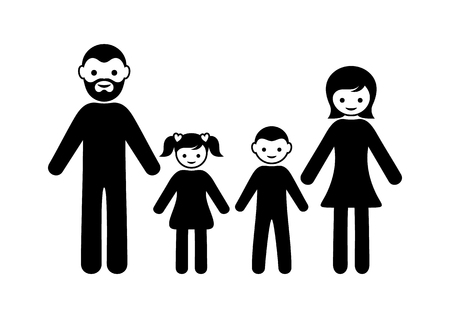 family with two children: Black vector simple family icon with two children