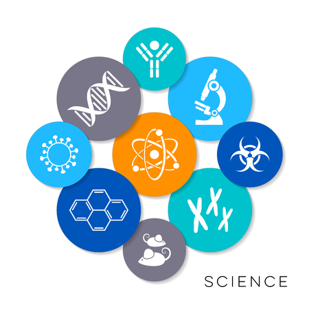 Modern colorful vector science infographic icons collection Ilustração