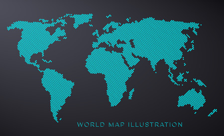 Blue dotted world map isolated on black background
