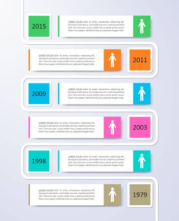Colorful modern timeline infographic vector design template