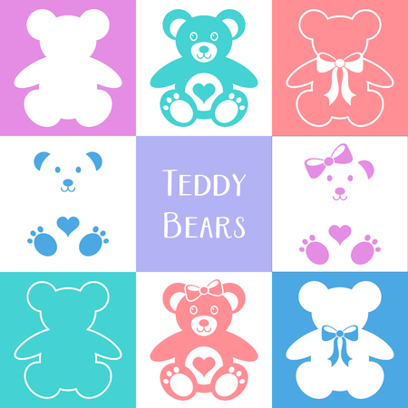pastel like: Vector cute teddy bears icons collection colorful squares