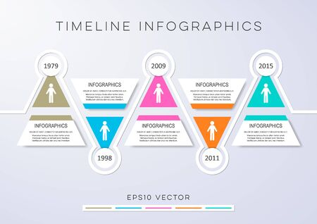 Colorful modern timeline infographic vector design template triangles Illustration