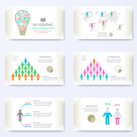 template for presentation slides with demographic signs Illustration