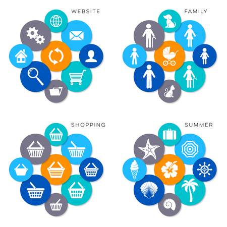 shopping family: Modern website shopping family and summer icons