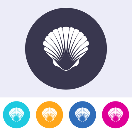 scallop: Vector scallop seashell icon on round colorful buttons