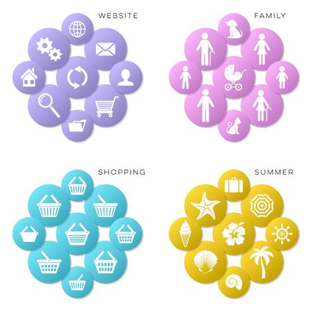 shopping family: Vector website shopping family and summer icons collection