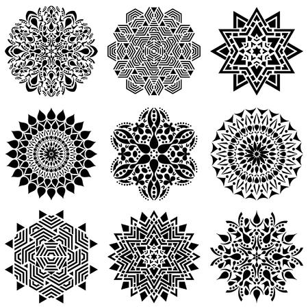Black geometric abstract mandala vector illustration collection
