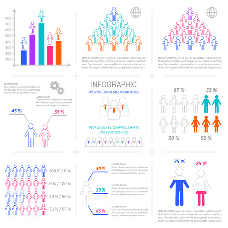 Vector infographic people icons demographic outline collection