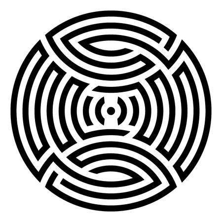 Black geometric abstract round mandala illustration Vektoros illusztráció