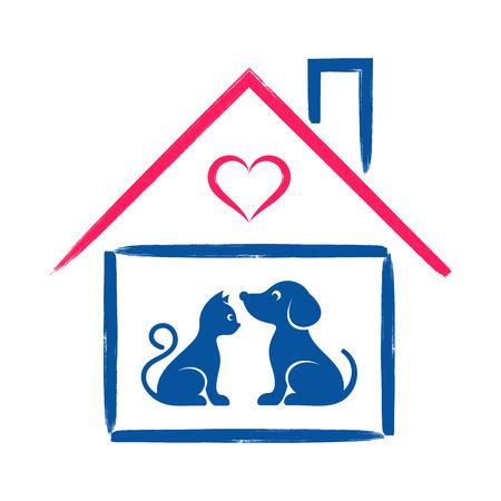 silhouette maison: Pet shop ou à la clinique signe chat et de chien