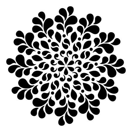 Black geometric abstract round mandala illustration  イラスト・ベクター素材