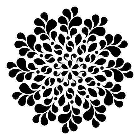 Black geometric abstract round mandala illustration Vettoriali