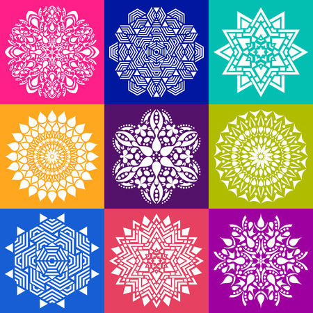 Geometric abstract mandala illustration collection in squares
