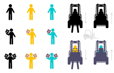 human hand: warehouse icon set isolated on white background Illustration