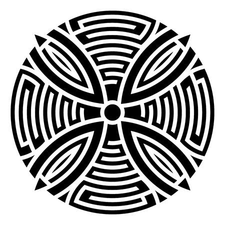handmade paper: Black geometric abstract round mandala vector illustration Illustration