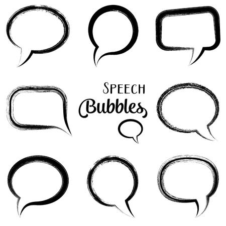 strokes: Black vector speech bubbles brush strokes style