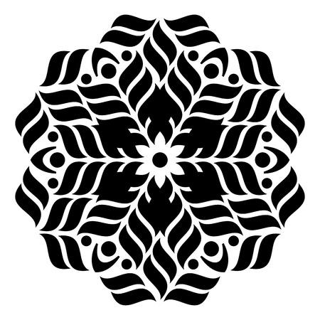 Black geometric abstract round mandala vector illustration Vectores