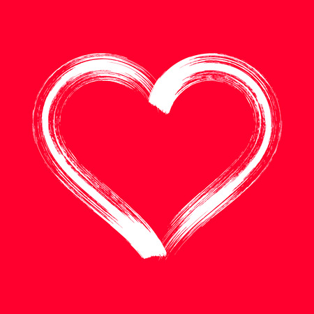 White stylized brush strokes heart sign