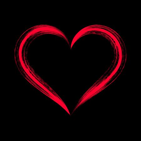 strokes: Red stylized brush strokes heart on black Illustration
