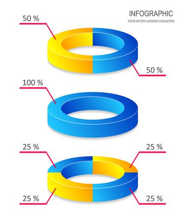 Infografiki wykres kołowy kreatywnych wektor dla raportu biznesowego Ilustracje wektorowe