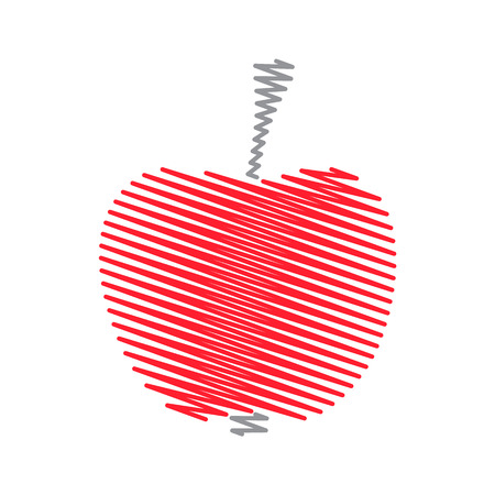 zag: Red abstract striped zig zag apple vector illustration