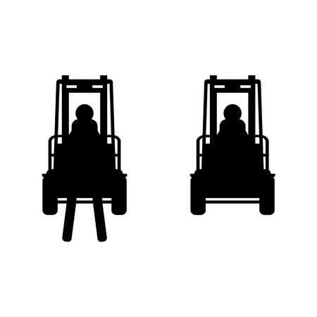 fork lifts trucks: Black vector fork lift truck icon set isolated Illustration