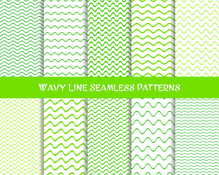 green line: Vector wavy line seamless patterns green colors collection