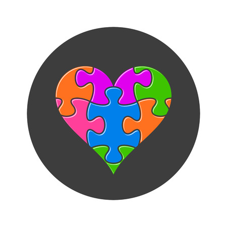 colorful heart: Colorful heart made of puzzle pieces black button