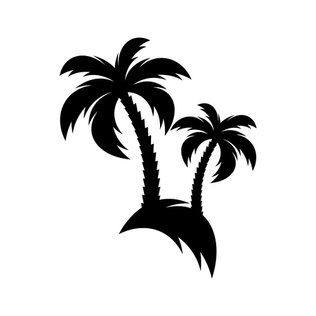 Black vector palm tree icon isolated on white