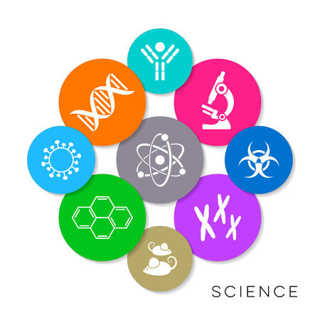 Modern colorful vector science infographic icons collection Vettoriali