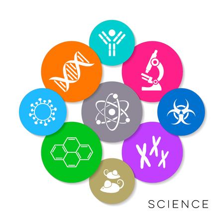 Modern colorful vector science infographic icons collection Illusztráció