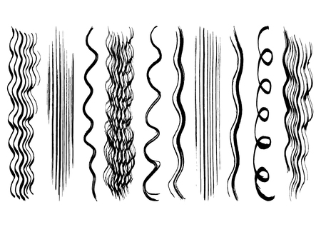 Black  hair brush strokes collection 向量圖像