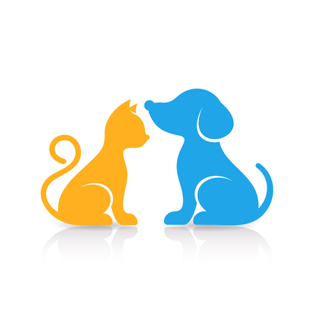 Colorful cute cat and dog silhouettes with reflection Ilustracja