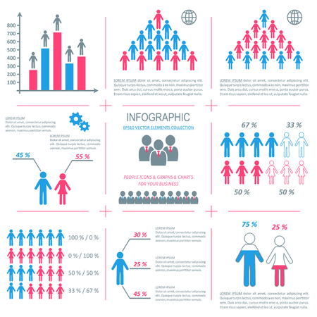 Vector infographic people icons three colors demographic collection