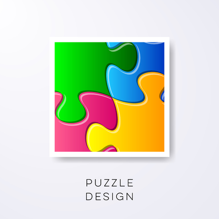 joined: Vector colorful puzzle pieces joined together detail label