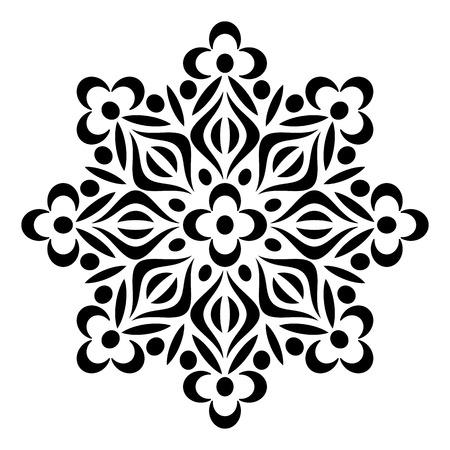 Black geometric abstract round mandala vector illustration Illustration