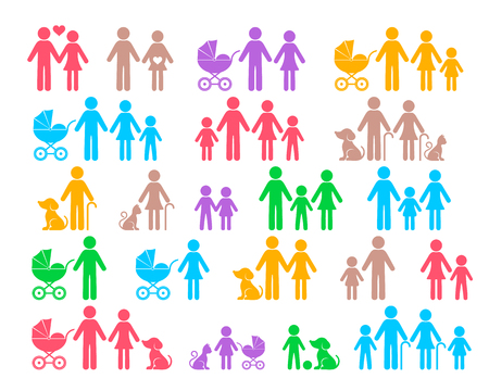 Colorful vector family pictograms web icon collection isolated