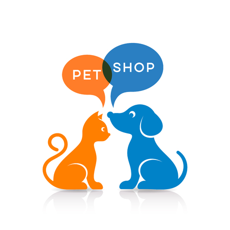 Colorful cat and dog silhouettes pet shop sign Illustration