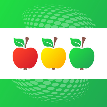 fruit stalk: Vector red yellow green apple icons green background