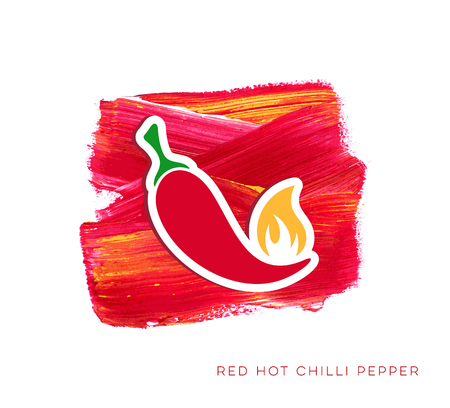 Red hot chilli pepper label creative vector illustration